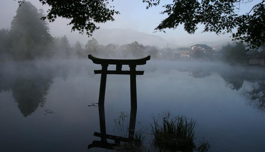 九州大分縣由布院金鱗湖景色