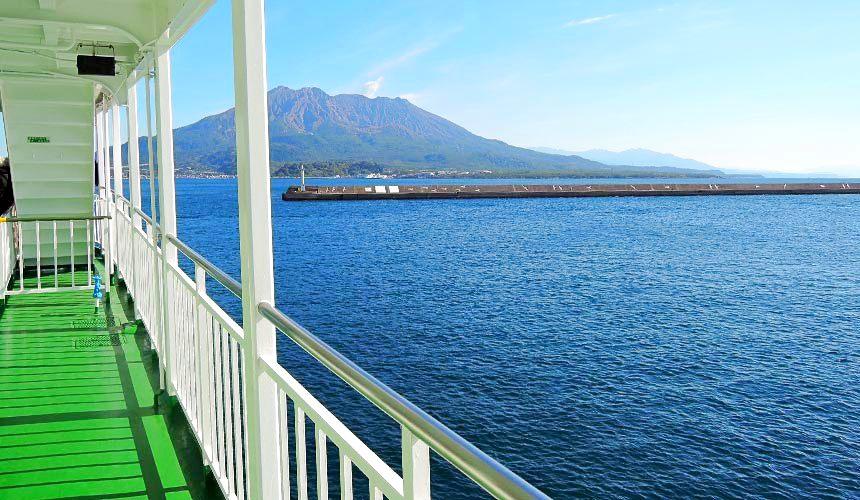 鹿兒島櫻島渡輪上欣賞櫻島火山一景