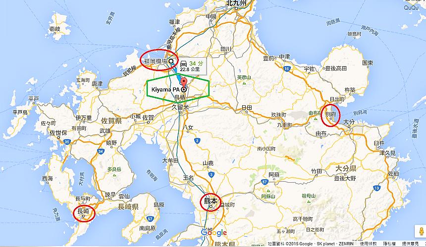 Google地圖呈現基山高速公路休息站在九州位置