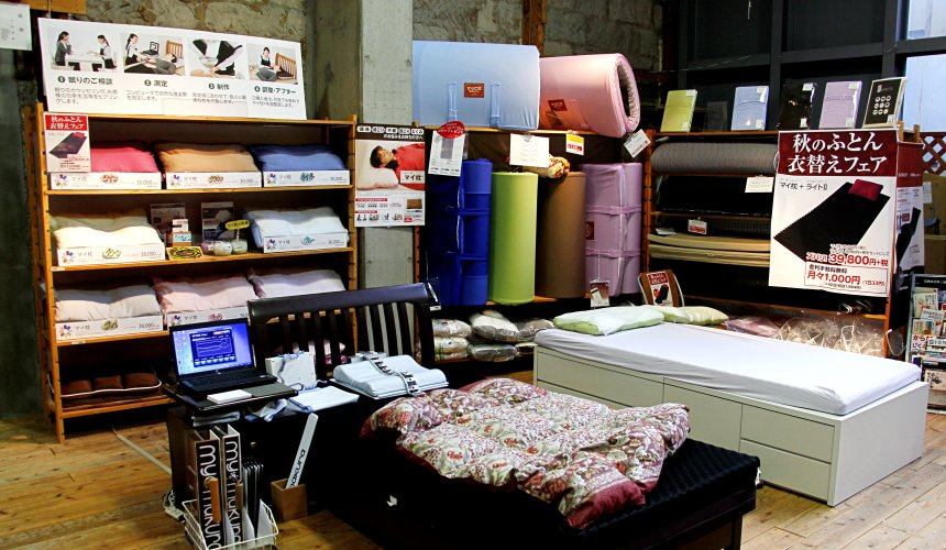 「my makura」店鋪裡的枕頭、床墊、棉被