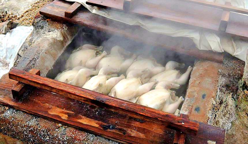 日本鹿兒島八幡大地獄的地獄蒸雞