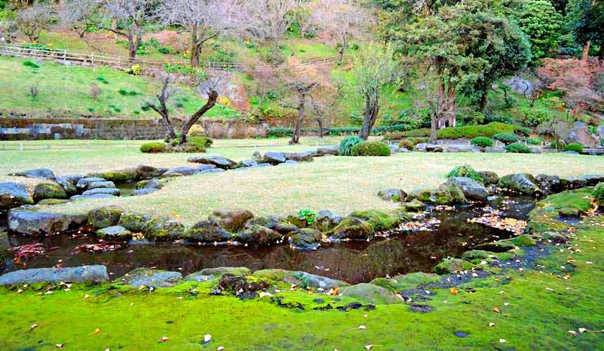 日本鹿兒島世界遺產天下名園「仙巖園」的曲水庭