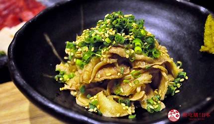 九州福岡必吃名物美食推薦「おおやま」的推薦料理柔軟柚香醋牛腸(柔らか牛すもつ)