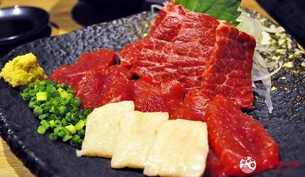 九州福岡必吃名物美食推薦「おおやま」的推薦料理生馬刺3種部位拼盤