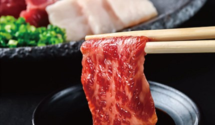 九州福岡必吃名物美食推薦「おおやま」的推薦料理生馬刺3種部位拼盤的生馬肉