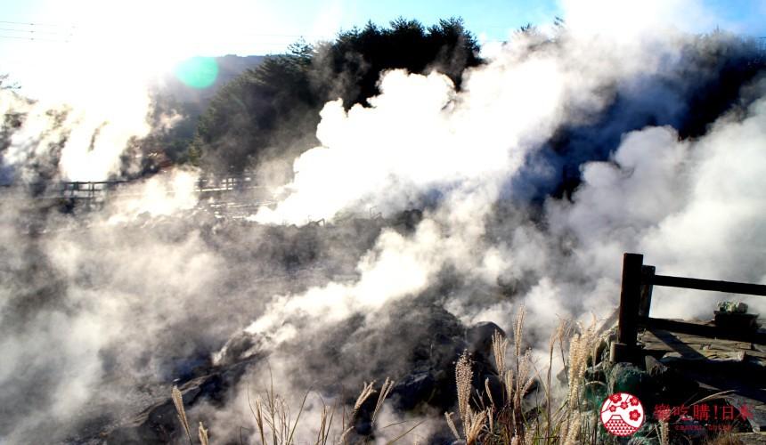 日本九州自由行推薦長崎島原、雲仙的雲仙地獄紅葉配逆光太陽