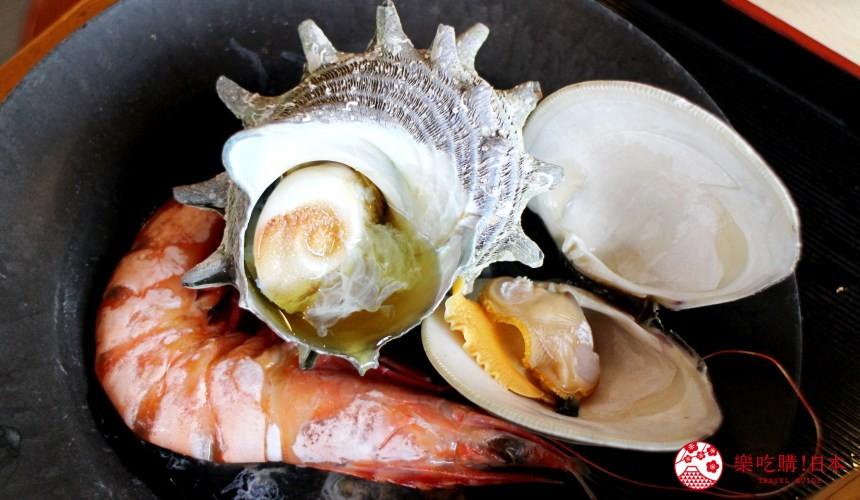 日本九州自由行推薦長崎島原、雲仙的海鮮市場蒸釜屋提供的地獄蒸的蝦蜆螺