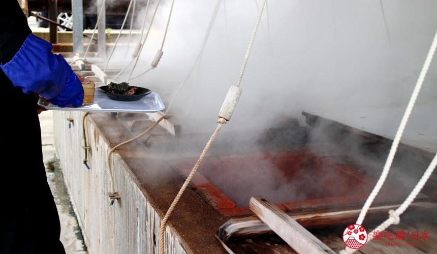 日本九州自由行推薦長崎島原、雲仙的海鮮市場蒸釜屋提供的溫泉蒸釜