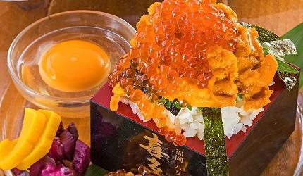 博多必吃高CP值海鮮居酒屋「海風土」的料理海膽鮭魚卵蓋飯
