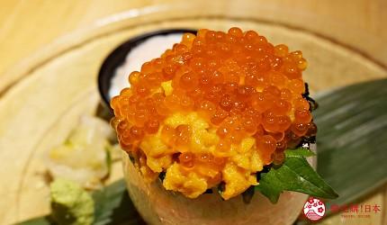 博多必吃高CP值海鮮居酒屋「海風土」的料理海膽鮭魚卵蓋飯近照