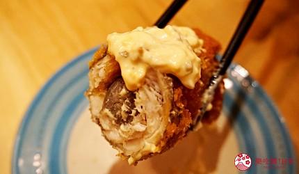 博多必吃高CP值海鮮居酒屋「海風土」的料理牛蒡纏炸太刀魚斷面秀