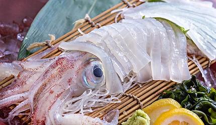 博多必吃高CP值海鮮居酒屋「海風土」的料理烏賊生魚片